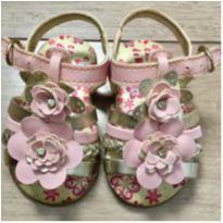 Sandália rosa com dourado Flores - 17 - Carinha de Nenê