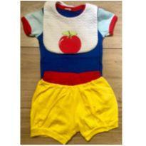 Conjunto Body, shorts e babador Branca de Neve - 6 a 9 meses - Sem marca