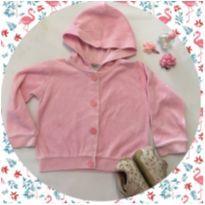 casaquinho bebê rosa em plush - 6 meses - baby mix