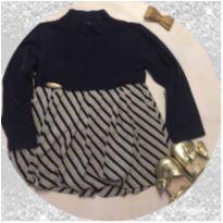 vestido bebê azul marinho e cinza infantilândia - 2 anos - Infantilândia