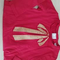 Camiseta Manga Longa Vermelha com Laço Dourado - Zara -  Tam 2/3 - 24 a 36 meses - Zara