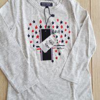 Camiseta Manga Longa Tommy Hilfiger  Nova 9 Meses Cinza - 9 meses - Tommy Hilfiger