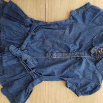 Blusa em Tecido Imita jeans Com babados e Cinto - Tam 4 - Linda!! - 4 anos - PAPER DENIN CLOTH