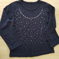 Camiseta / Blusa em Malha Manga longa Azul Marinho com Aplicações - Tam 4 - 4 anos - Não informada