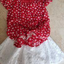 Conjunto Saia e Blusa Vermelho e Branco Tam 3 - 3 anos - Healthtex