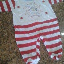 Macacão branco e vermelho estilo marinheiro - 0 a 3 meses - Baby fashion