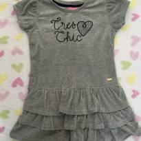 Vestido plush cinza com saia de 3 camadas - 10 anos - Le Petit