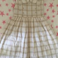 Vestido xadrez tons cáqui com golinha e laço traseiro - 1 ano - petit bebe