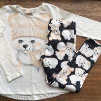 Conjunto blusa e calça legging ursinhos 4 anos - 4 anos - Le Petit Kukiê