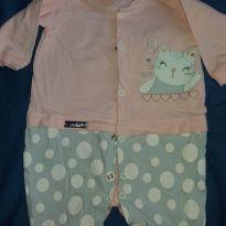 Macacão rosa e cinza - 3 meses - Bicho Molhado