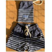 Shorts praia azul marinho listrado - 2 anos - Shorts Co