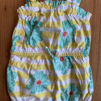 Macaquinho baby GAP amarelo florido - 6 a 9 meses - Baby Gap