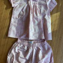 Conjunto bata shorts cor de rosa Petit Valutin - 18 meses - Petit Valutin