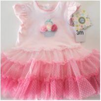 Vestido/Body Tutu Importado (NOVO) - 3 meses - Little Me