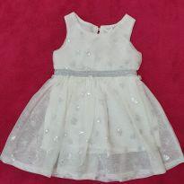 Vestido P Luxo branco com bordado - 0 a 3 meses - Desconhecida