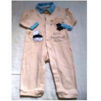 Macacão de malha cor bege e azul sem pés M - 3 a 6 meses - ZigMundi