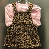 Vestido jardineira animal print Carter`s & body de algodão - tam 3m - 0 a 3 meses - Carter`s