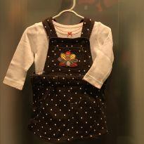 Vestido jardineira + camiseta Carter`s - tam 6m - 3 a 6 meses - Carter`s