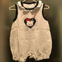 Macaquinho/Romper branco e marinho Baby Fashion - tam 6m - 3 a 6 meses - Baby fashion