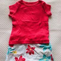 Conjuntinho short-saia e camiseta manda curta Hering Kids - tam 9m - 6 a 9 meses - Hering Kids
