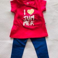Conjuntinho legging (Up Baby) e camiseta manga curta (Hering Kids) - tam 9m - 6 a 9 meses - Up Baby e Hering Kids