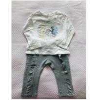 Conjuntinho calça de moletom e camiseta manga longa Zara Baby - tam 9m - 9 meses - Zara Baby