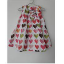 Vestido de cetim corações - tam 6m - 6 meses - Anjos baby