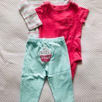Conjuntinho 2 bodies + calça cupcake Carter`s - tam 12m - 9 a 12 meses - Carter`s