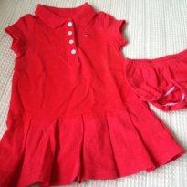 Vestido peplum com tapa fralda - 1 ano - Tommy Hilfiger