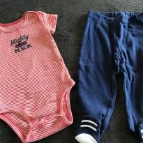 Conjuntinho de body manga curta e calça com pé - 3 meses - Carter`s