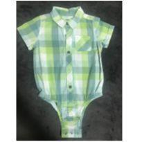 Camisa MC, xadrez em verde e branco - 9 meses - GAP