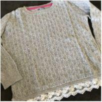 Blusa de fio trabalhado, com barrado de renda - 2 anos - Baby Gap