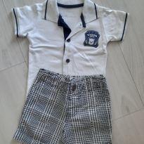 Conjunto Camiseta e Bermuda. Tam. P - 3 a 6 meses - Tigor Baby