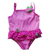 Maiô Rosa com bordinhas de coração e detalhes de flores em tecido - 2 anos - Penelope Mack