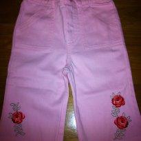 Calça jeans rosa bordada. Perfeita para primavera - 18 meses - Não informada