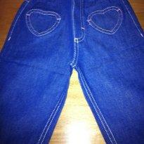 Calça jeans pesponto rosa - 1 ano - Não informada