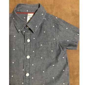 Camisa social Carter's jeans manga curta tamanho 18 meses - 18 meses - Carter`s