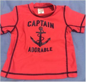 Camiseta praia/piscina Carter's com proteção solar UV 50+ Tamanho 18 meses - 18 meses - Carter`s