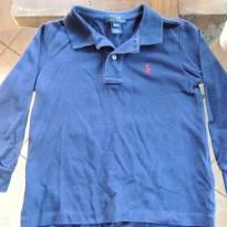 Camiseta Polo de Algodão Azul Marinho Manga Longa Polo Ralph Lauren - 3 anos - Polo