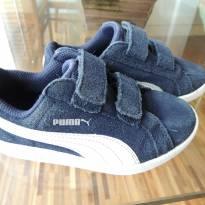 Tenis Puma Azul Marinho e Branco, Nobuc e Velcro - Importado - Estiloso - 26 - Puma