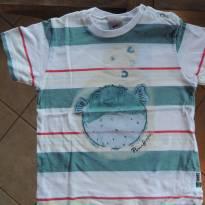 Camisa de Algodão Branca listrada com verde - Peixe - 3 anos - PUC