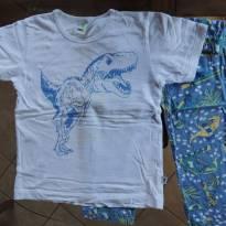 Pijama  Algodão Dinossauro Brilha no escuro - Camiseta Branca e Calça Azul - 4 anos - PUC
