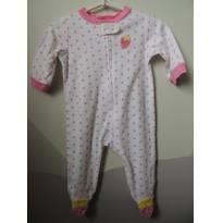 Macacão Algodão/Pijama Branco com Bolinhas Rosa_Morango Bordado - 3 meses - Carter`s