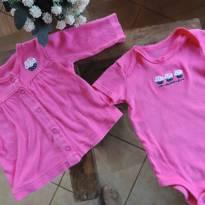 Conjunto Body + Casaquinho Pink_ Sorvete Bordado - 3 meses - Carter`s