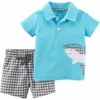 Conjunto Carters Camisa Polo e Bermuda Xadrez Tubarão - Recém Nascido - Carter`s