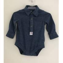 Body camisa jeans longa com botões - 0 a 3 meses - Baby Club