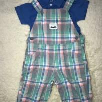 Conjunto Carters Jardineira  com camisa de botão - 3 a 6 meses - Carter`s e carter`s, baby gap, zara