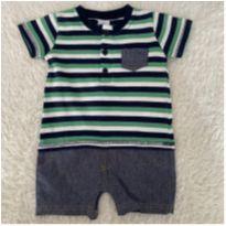Romper macaquinho camisa listrado e bermuda TipTop - 6 a 9 meses - Tip Top e CARTERS/TIPTOP/ZARA