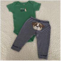 Conjunto calça e body Carter's cacachorrinho - 6 a 9 meses - Carter`s e carter`s, baby gap, zara