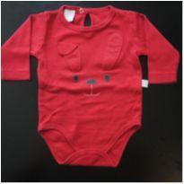 Body manga longa vermelho - 0 a 3 meses - Ano Zero